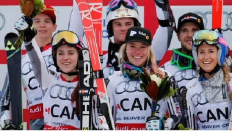 Canada wins silver in team event at skiing championships