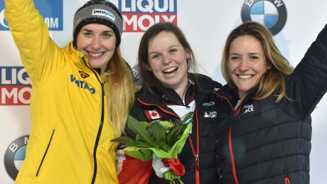 Canadians slide to skeleton gold, bronze in weather-shortened race