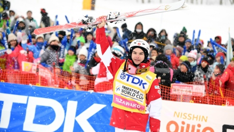 Mikael Kingsbury strikes gold again in World Cup moguls