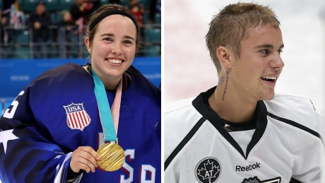 U.S. Olympic hockey goalie Maddie Rooney challenges Justin Bieber